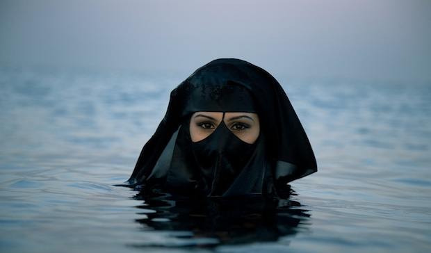 muslim woman swimming