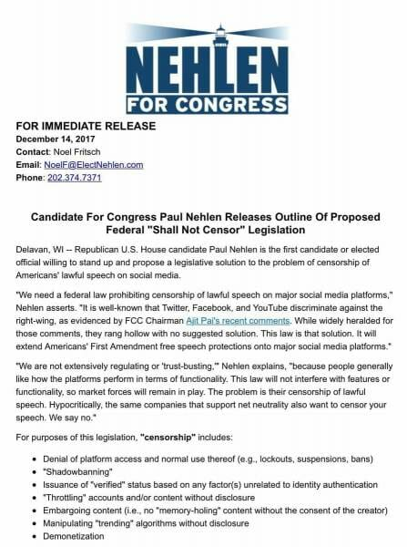Nehlen's Shall Not Censor Legislation Press Release, page 1