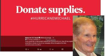 Democrat Senator's Hurricane Relief Ads Link to His Campaign Website and to the Soros-Funded Act Blue Fundraising Page