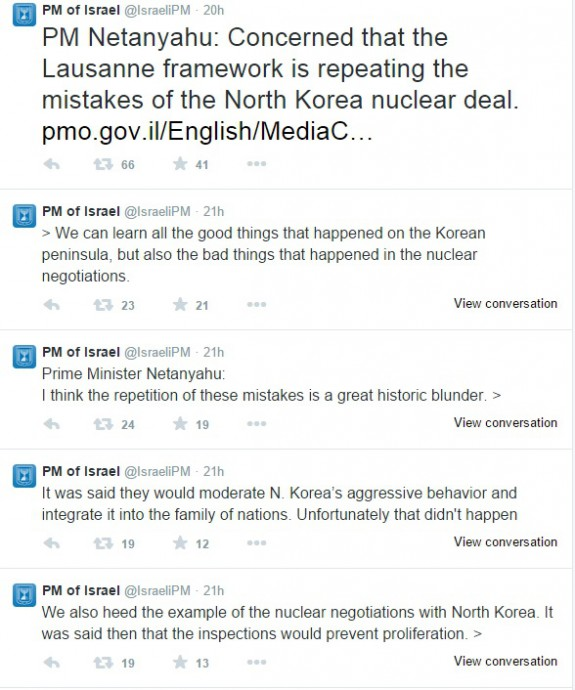 netanyahu north korea twitter