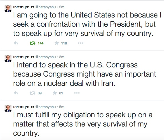 netanyahu tweets obama