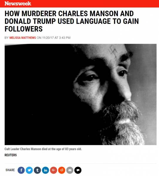 It Begins. Liberal Hacks at Newsweek Compare Charles Manson to Trump