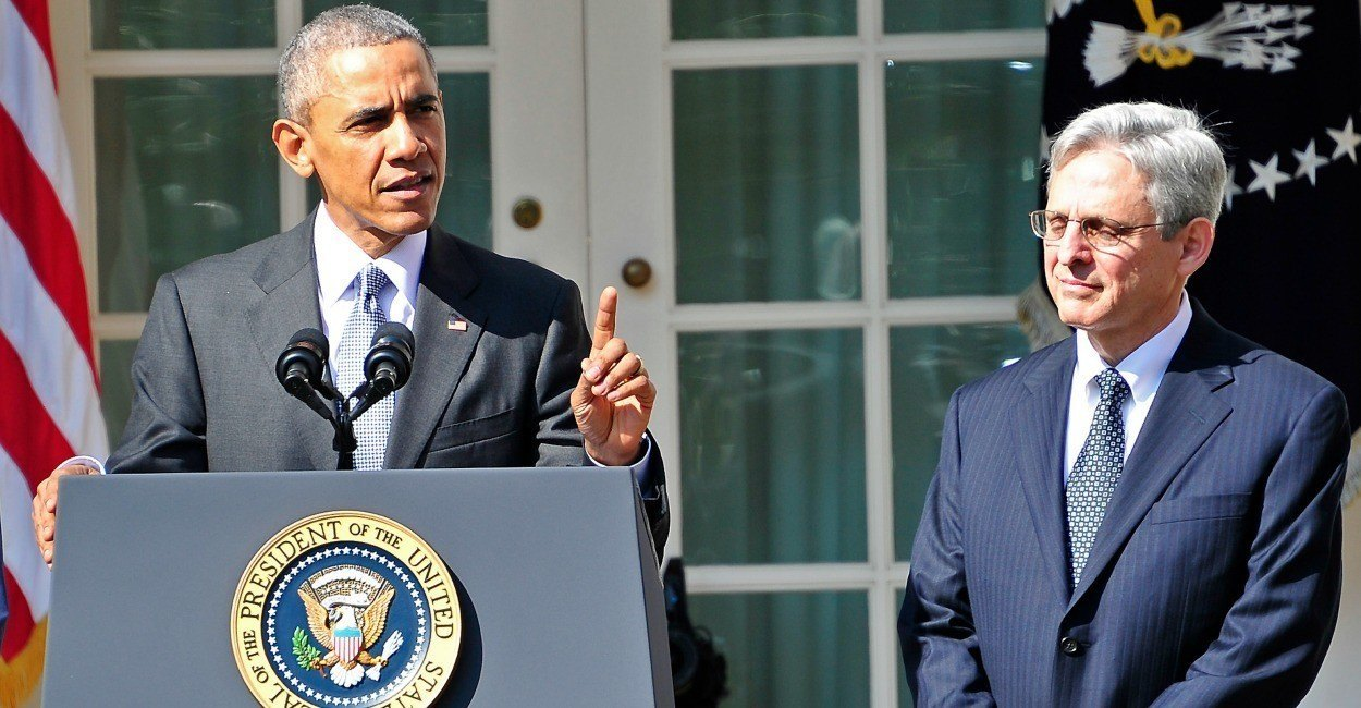 United States President Barack Obama introduces Judge Merrick Garland, chief justice for the US Court of Appeals for the District of Columbia Circuit, as his nominee to replace the late Associate Justice Antonin Scalia on the U.S. Supreme Court in the Rose Garden of the White House in Washington, D.C. on Wednesday, March 16, 2016.  Credit: Ron Sachs / CNP