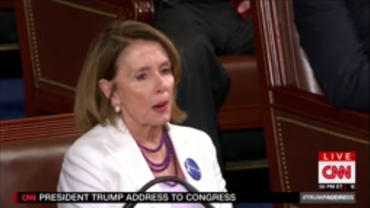 Bitter Nancy Pelosi REFUSES to Stand and Applaud American Job Creation (Video)