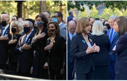 Nancy Pelosi and the DC Elites Mask Up for the Official Photos at Ground Zero -- Then Drop the Mask When They Think the Cameras are Off