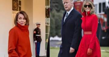 Who Wore It Best? Beautiful Melania Trump or Bag Lady Nancy Pelosi in Her Boxy Red Coat?