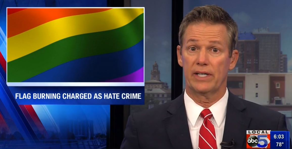 Man Charged with Hate Crime for Burning Pride Flag in Iowa - While Protester Awarded $225,000 for Burning US Flag in Cleveland