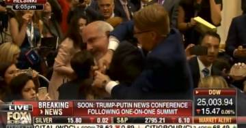 VIDEO=> UNHINGED FAR LEFT PROTESTER Sam Husseini Dragged Out of Press Conference Before Trump-Putin Enter Room