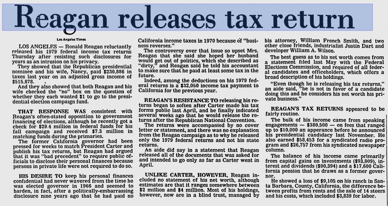 reagan tax return