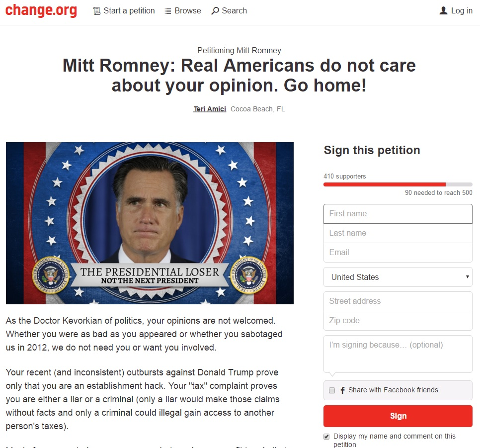 romney petition