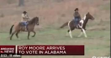 Judge Roy Moore Rides to Polling Place on Horseback with Wife Kayla (Video)