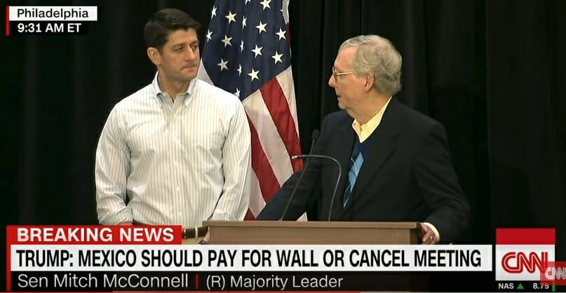FLASHBACK=> WATCH Paul Ryan and Mitch McConnell Lie About Funding the Trump Border Wall