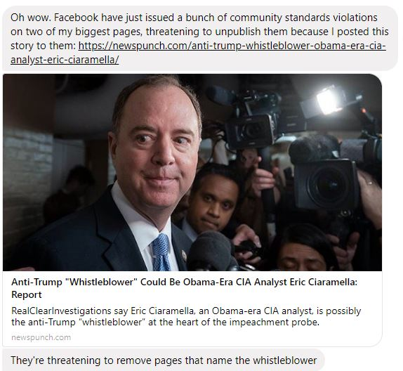 Facebook Removes All References To Whistleblower Ciaramella & Threatens Users Who Post