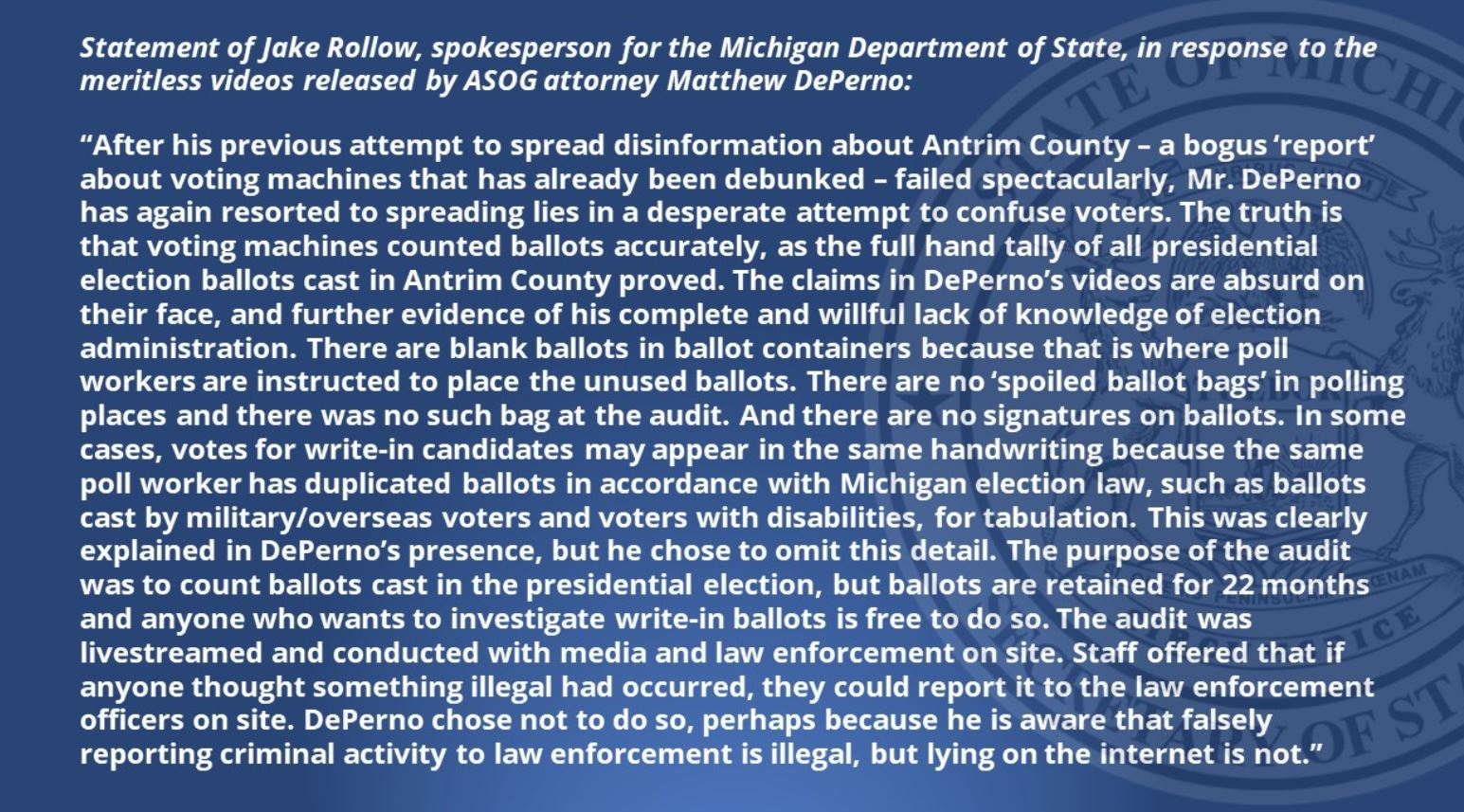 Michigan Secretary of State Website Attacks Gateway Pundit and Attorney Matthew DePerno After Posting Video of Corrupt Election Worker 2