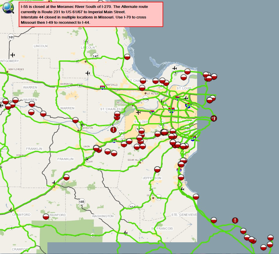 GREAT MISSOURI FLOOD OF Roads Closed In State Rivers - Missouri road map