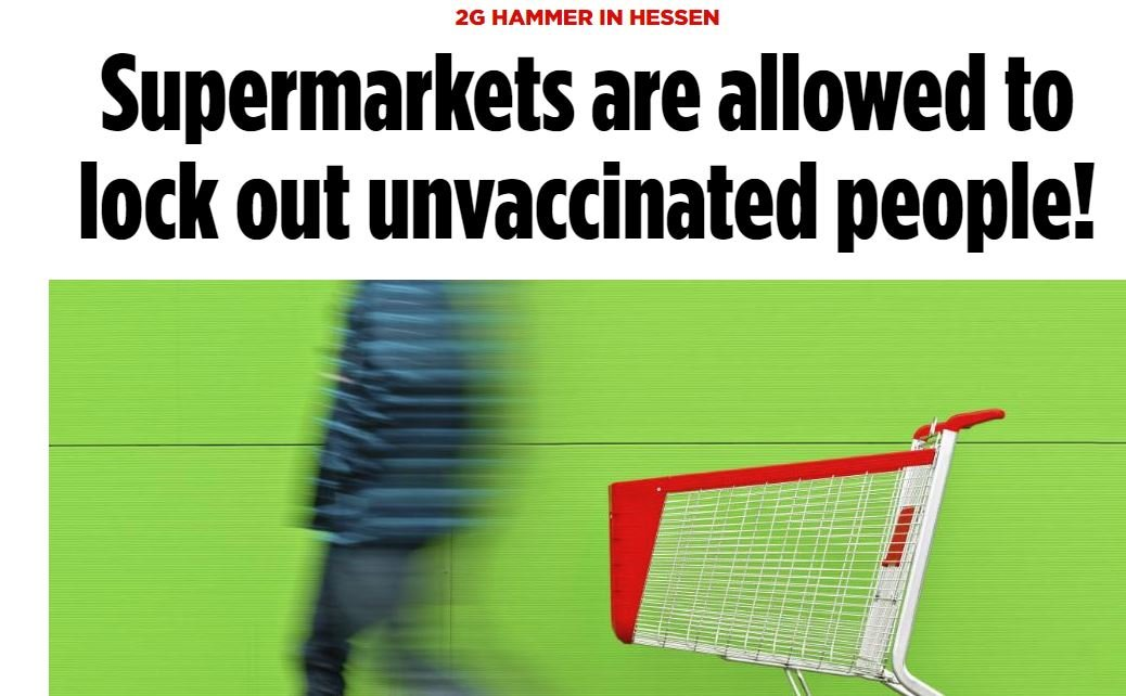 VAX OR STARVE: German State Allows Grocery Stores to Ban Unvaccinated