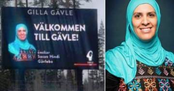 Official Swedish Welcome Sign to City of Gävle Features Woman in Hijab with Connections to ISIS Mosque
