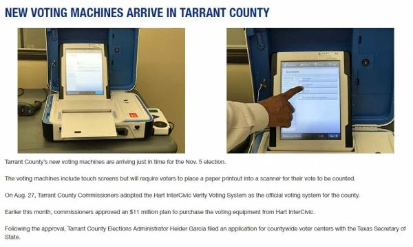 tarrant-county-machines-600x360 Texas County Goes Blue for the First Time Since 1964 After Hiring former Executive with Smartmatic as Elections Administrator Politics [your]NEWS