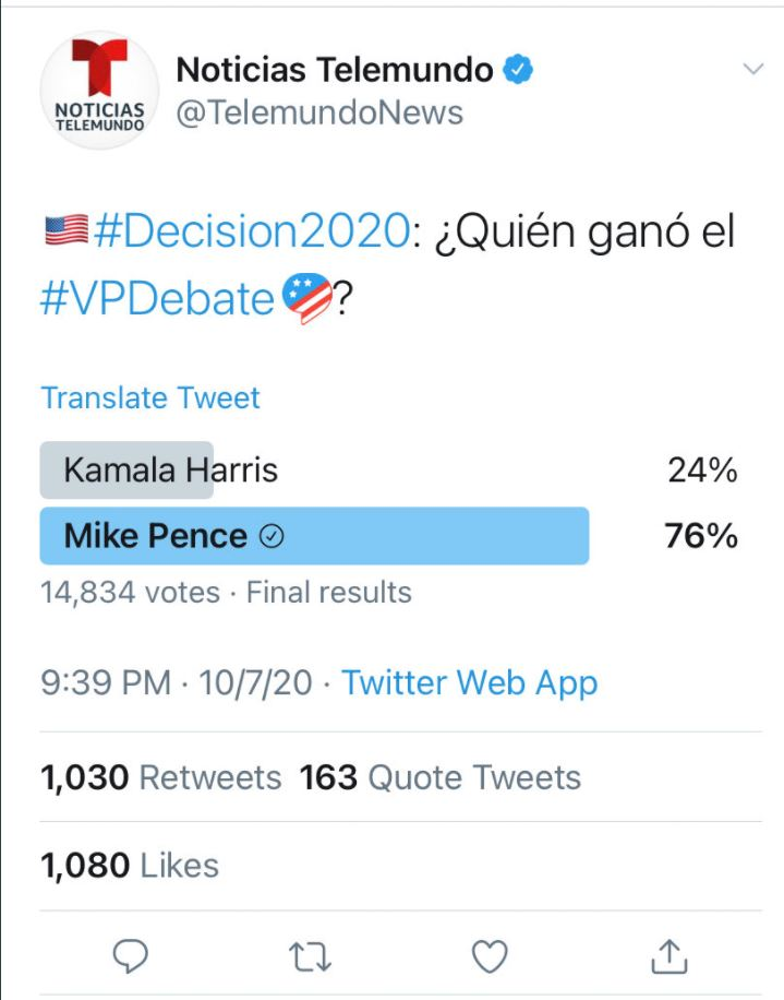 Telemundo Deletes Twitter Poll following VP Debate After Kamala Gets CRUSHED by Pence 74% to 26% (thegatewaypundit.com)