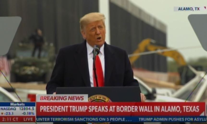 "In Speech at Border Wall Trump Says ""Freedom of Speech Is Under Assault"" and ""Impeachment Is a Hoax"" -- Admits Joe Biden Is Taking Over (VIDEO)"