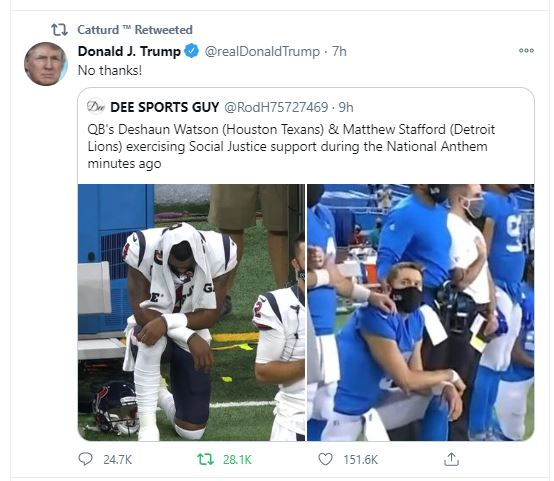 Detroit Lions and Houston Texans Quarterbacks Kneel During Anthem to Show Their Disgust for America on Thanksgiving Day