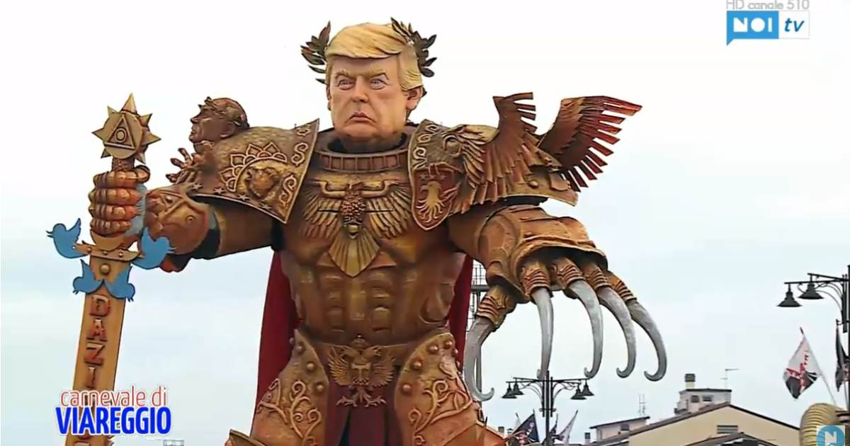 photo image AMAZING! ITALY Creates GIANT God Emperor Trump for Carnival Parade Complete With Giant Twitter Sword (VIDEO)