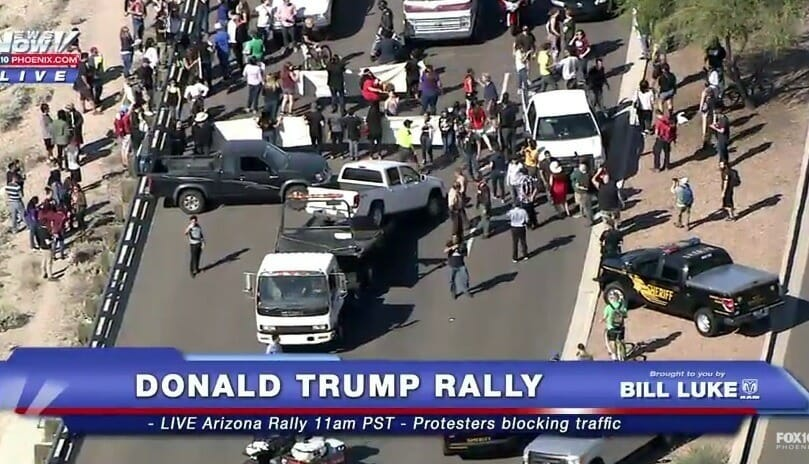 trump rally highway