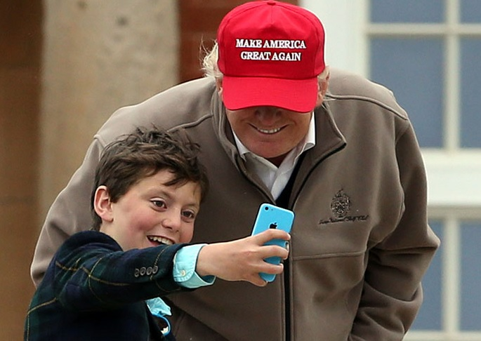 trump teamster kid selfie