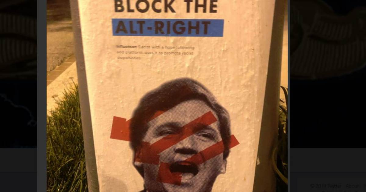 photo image Antifa Plasters Posters Around Washington DC with Tucker Carlson's Address as Warning — After Attacking His Home…