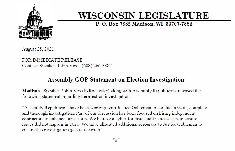 """HUGE DEVELOPMENT: Wisconsin House Speaker Robin Vos Calls for """"CYBER FORENSIC AUDIT"""" of Wisconsin's 2020 Presidential Election Results Vos-audit"""