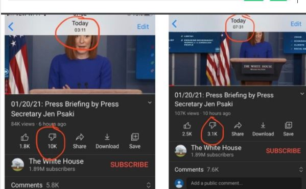 Amazing New Website Confirms YouTube Is Suppressing Dislikes on Joe Biden Videos by as Much as 600%